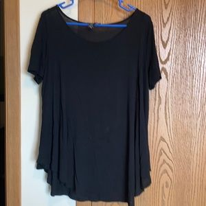 Forever 21-Black Short Sleeve Semi-Sheer T-shirt